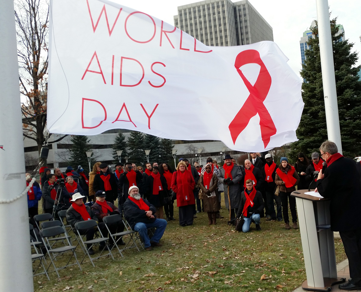 World AIDS Day 2015 flag raising