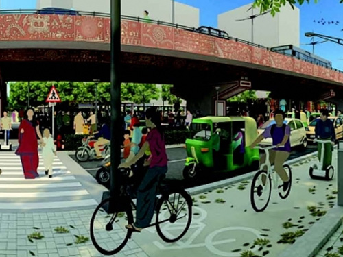 Architect's vision for redesign of streets beneath Shreyas flyover in Ahmedabad