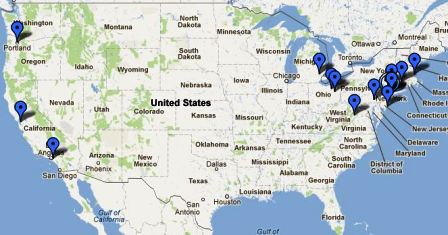 Map of Fall 2012 Kulanu-Abayudaya Speaking Tour event locations.