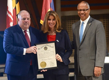 Governor Hogan, Jillian Copeland and Lt. Governor Rutherford