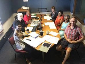 Duncan Hyman, in the center on the left, with a group recording the RENEW program for Radio Veritas.