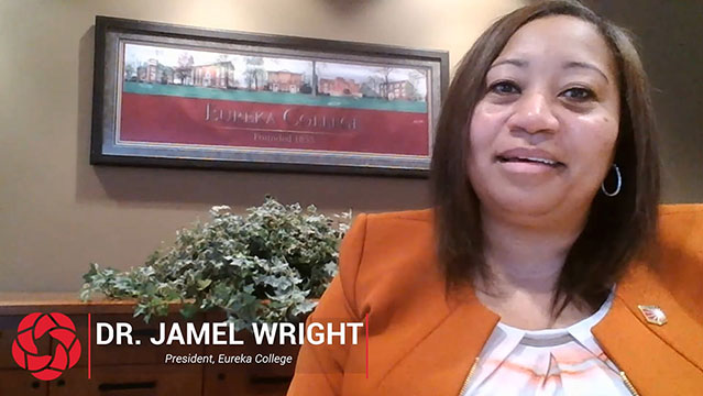 President Jamel Santa Cruze Wright of Eureka College was host for the virtual event.