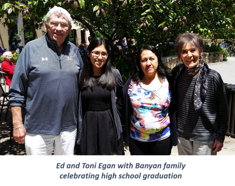 Ed and Toni Egan with Banyan family celebrating high school graduation